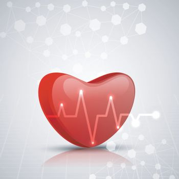 3D red heart with shiny electrocardiogram on grey molecules background for Medical concept.