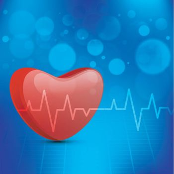 Blue Medical background with 3D red heart and electrocardiogram.