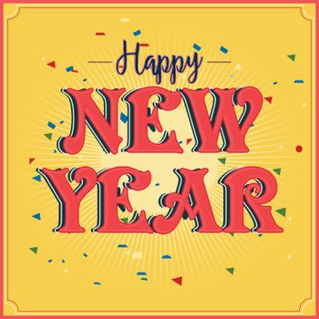 Stylish Text Happy New Year on abstract background, Can be used as Poster, Banner or Flyer design.