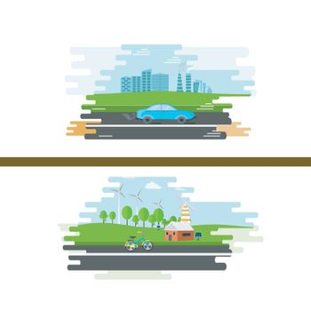 Illustration of urban and countryside landscape view for Ecology concpet.