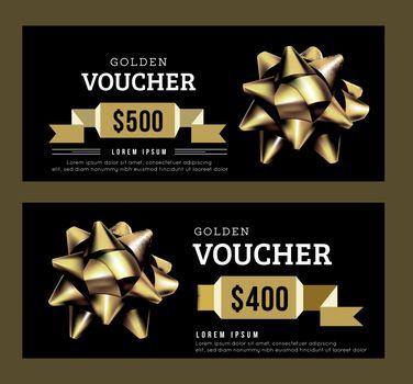 Golden gift voucher abstract template. Gold on Black design. Golden ribbon. Vector illustration.