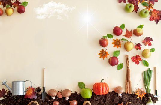 Autumn season orchard background