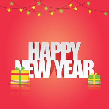 Elegant Greeting Card design with Stylish Text Happy New Year on shiny background.