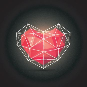 Abstract Heart in low poly style for Happy Valentine's Day celebration.