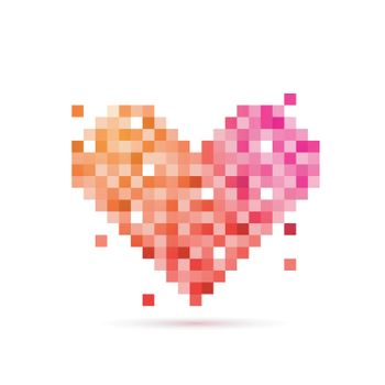 Pixel art design of Heart for Happy Valentine's Day celebration.