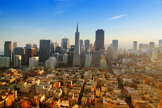 View of downtown San Francisco on sunset, California