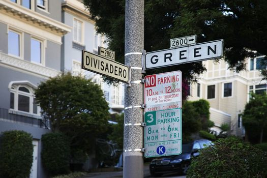 At the intersection of Divisadero Street and Green Street in San Francisco, California.
