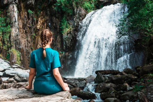 Woman at Korbu Waterfall