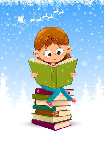 Little girl is reading a book for Christmas. Baby girl sitting on a stack of books. Winter background with snowflakes.