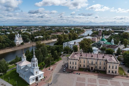 View of the city of Vologda from the observation deck of the bel