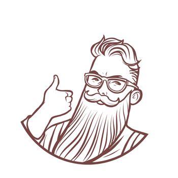 bearded hipster thumb up gesture. Comic cartoon pop art retro vector drawing illustration