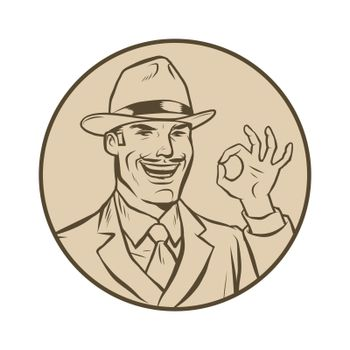 retro businessman OK gesture. Comic cartoon pop art retro vector drawing illustration