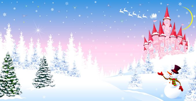 Cartoon pink castle on a background of a winter snowy forest. Winter night landscape with a pink castle. Snowman is greeting. Santa Claus on his sleigh in the sky.