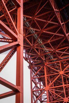 Iron structure under Golden Gate bridge of San Francisco, California, USA.