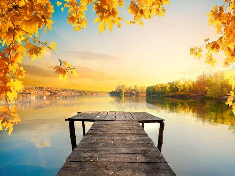 Autumn and calm pond