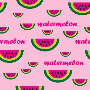 This image represents a watermalon and is a seamless pattern. Background pink.
