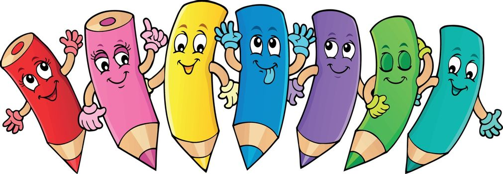 Happy wooden crayons theme image 1 - eps10 vector illustration.