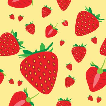 This image represents seamless pattern of some red strawberry with a pale yellow background.