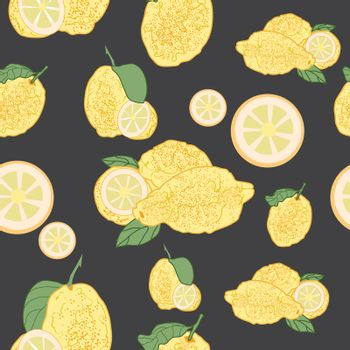 This illustration represents a seamless pattern of lemons with black background.