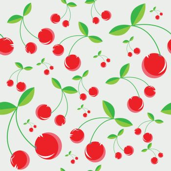 This image represents a seamless pattern of some cherries with a pale blue background