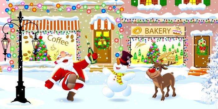Santa Claus, deer and snowman on a snowy city street on Christmas Eve. Santa, deer and snowman celebrate Christmas.