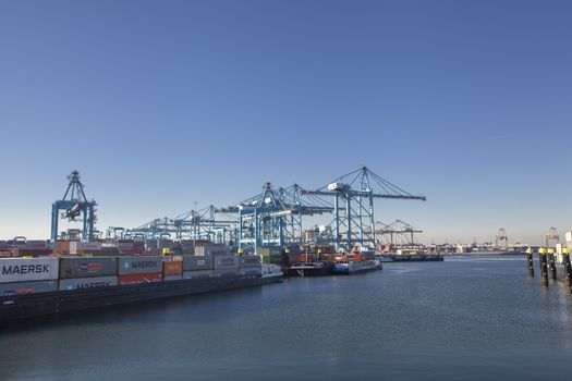 container terminal in the Rotterdam harbor, the netherlands