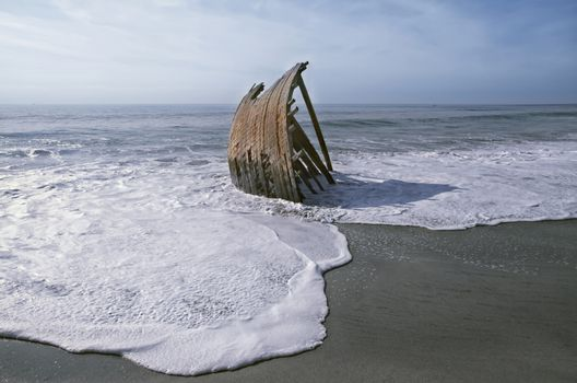 Wrecked Dhow on a beach