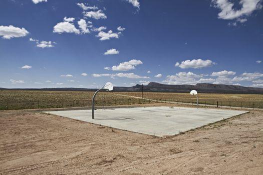 Outdoor Basketball hoop on an Urban outdoor playground