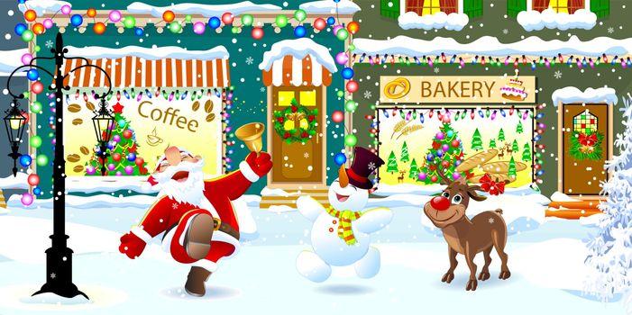 Joyful Santa Claus, Rudolph deer and snowman on a snowy city street celebrate Christmas. Santa is ringing a Christmas bell.