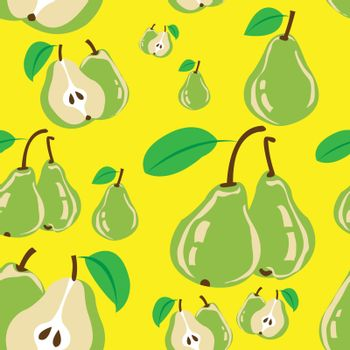 Seamless pattern of some pear with yellow background