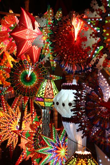 Colorful Diwali lanterns also called as skylanterns lit up for decoration on occassion of Diwali festival in India.