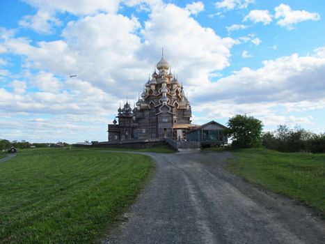 Church of the Orthodox Church made of wood in Russia.