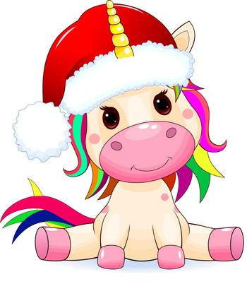 Little unicorn dressed in a Santa hat, on a white background.