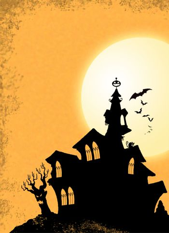 Halloween Black Haunted House Silhouette on Hill with Bats and Night Glowing Moon