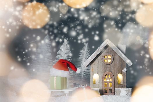 Christmas card with house in snow