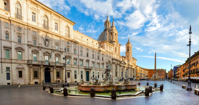 Piazza Navona and Fountain of Moor in the morning, Italy
