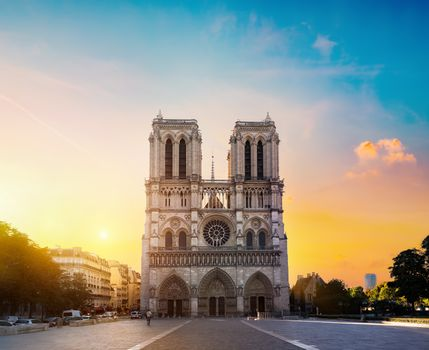 Facade of Notre Dame de Paris in the morning, France