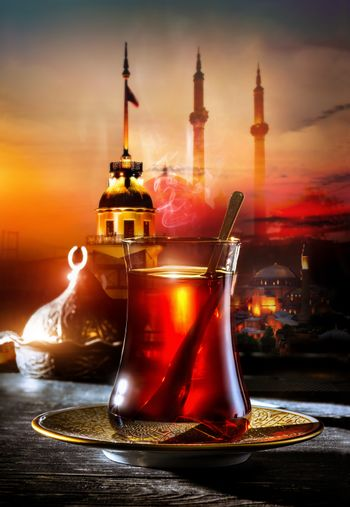Turkish tea in the background of the maiden tower in Istanbul