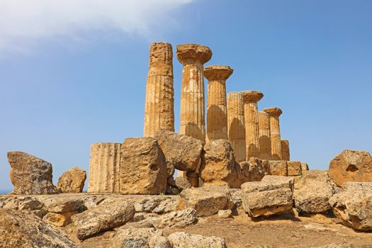 Ruined Temple of Heracles columns in famous ancient Valley of Te
