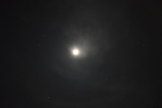 The moon in the dark sky surrounded by the milky way galaxy