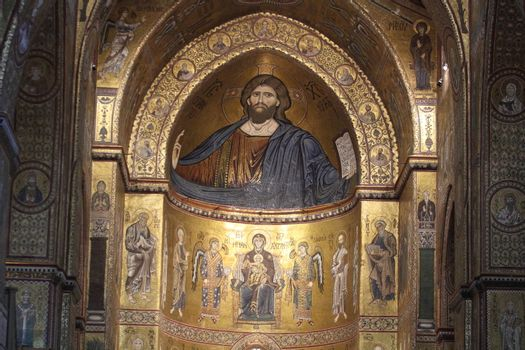 Monreale, Italy - 3 July 2016: The Christ Pantocrator in the Cathedral of Monreale