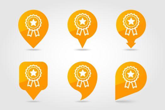 Ribbon award best seller pin map icon