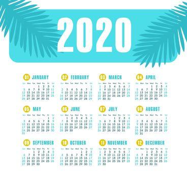 Vector calendar 2020 year. Week starts from Sunday