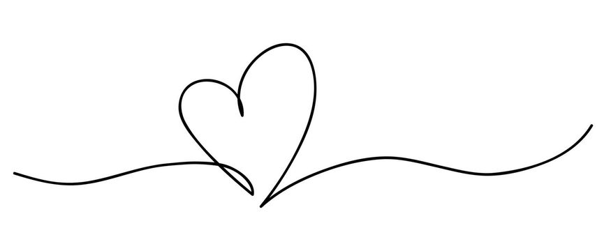Heart. Abstract love symbol. Continuous line art drawing vector illustration.