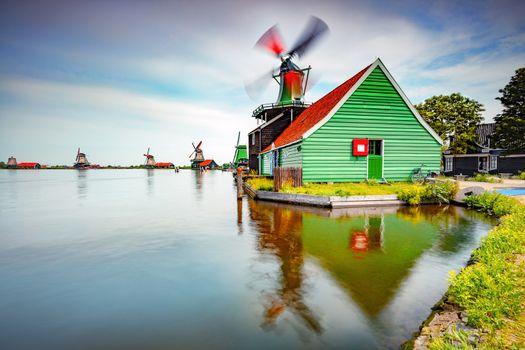Windmills, Dutch countryside