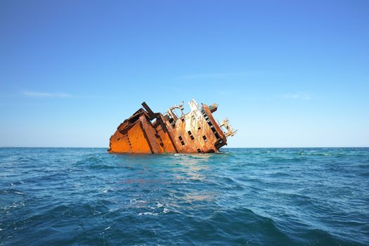 Ruined wrecked ship