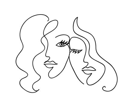 Couple girlfriend and sisters. Woman face with wavy hair. Fashion,friendship and love concept. Black and white hand drawn line art. Abstract outline vector illustration.