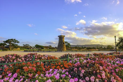 Cheomseongdae Park And beautiful flowers in the daytime The olde
