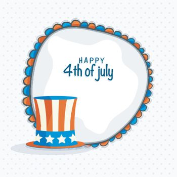 Happy 4th of July celebration background with American Flag colors Hat.
