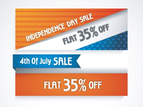 4th of July Sale with flat 35% off, Creative website headers or banners set for American Independence Day.